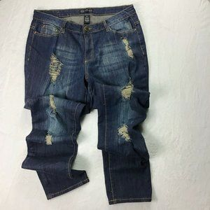🍀KARMA BLUE Heavily Distressed Blue Jeans Size 12